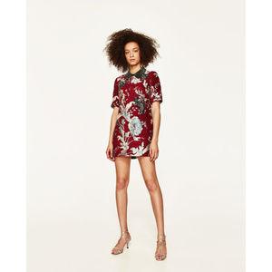 NWT Zara Red Jacquard Mini Dress Sequin